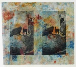 """Photogravure on cloth, Monotypie """"die nubieschen Ziegen"""" ca. 55 x 60 gerahmt 70 x 70"""