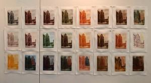 Enstanden bei der Ausstellung: 5 für Berlin, 2013 in Berlin. 24 Ansichten vom Nordturm des Stephansdomes. Gepresst und gerahmt ca. 120 x 230