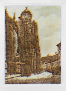 aus: 24 Ansichten vom Nordturm des Stephansdoms, gesamt gerahmt 120 x 240
